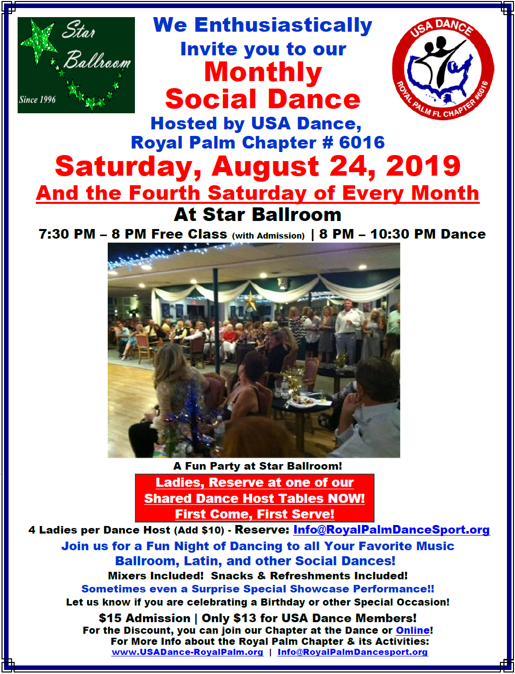 Don't Miss our August 24, 2019 Monthly Social Dance Hosted by USA Dance, Royal Palm Chapter at Star Ballroom