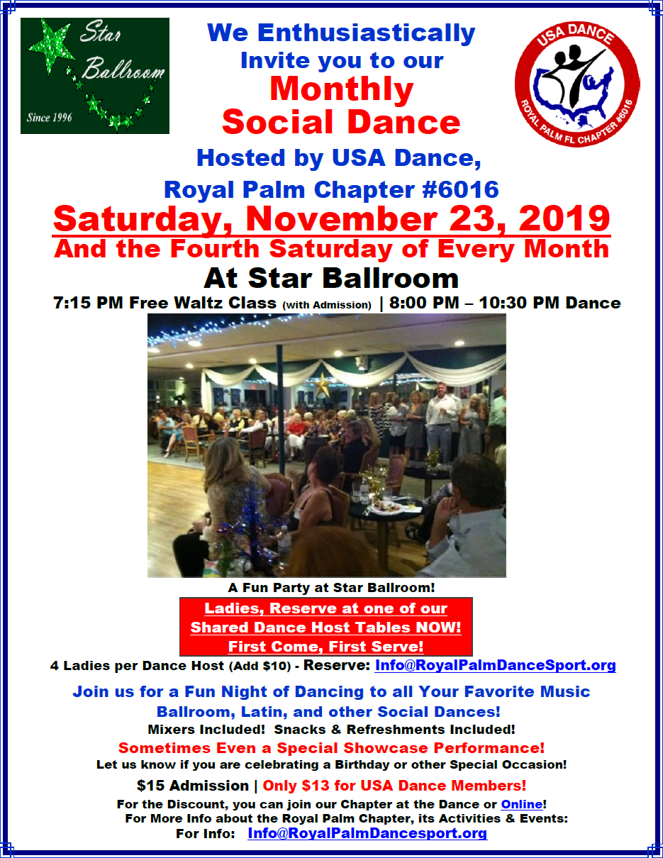 November 23, 2019 - Social Dance Hosted by USA Dance Royal Palm Chapter at Star Ballroom
