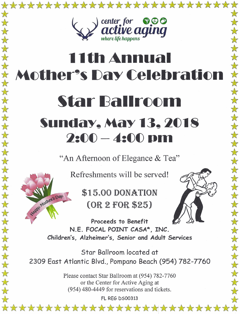 Mother's Day Celebration - Sunday, May 13, 2018 - Star Ballroom