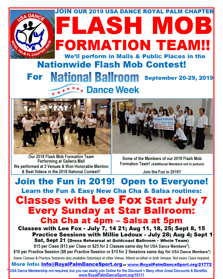 2019 Flash Mob Formation Team Classes, Starting July 7 at Star Ballroom!