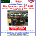 Come this Saturday, July 27 to our First Monthly Social Dance Hosted by USA Dance, Royal Palm Chapter! – Ladies Reserve NOW for one of our Dance Host Tables! – First Come – First Serve!
