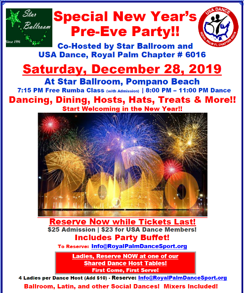 Special New Year's Pre-Eve Party - Saturday, December 28, 2019 at Star Ballroom!  - Click to Print Flyer