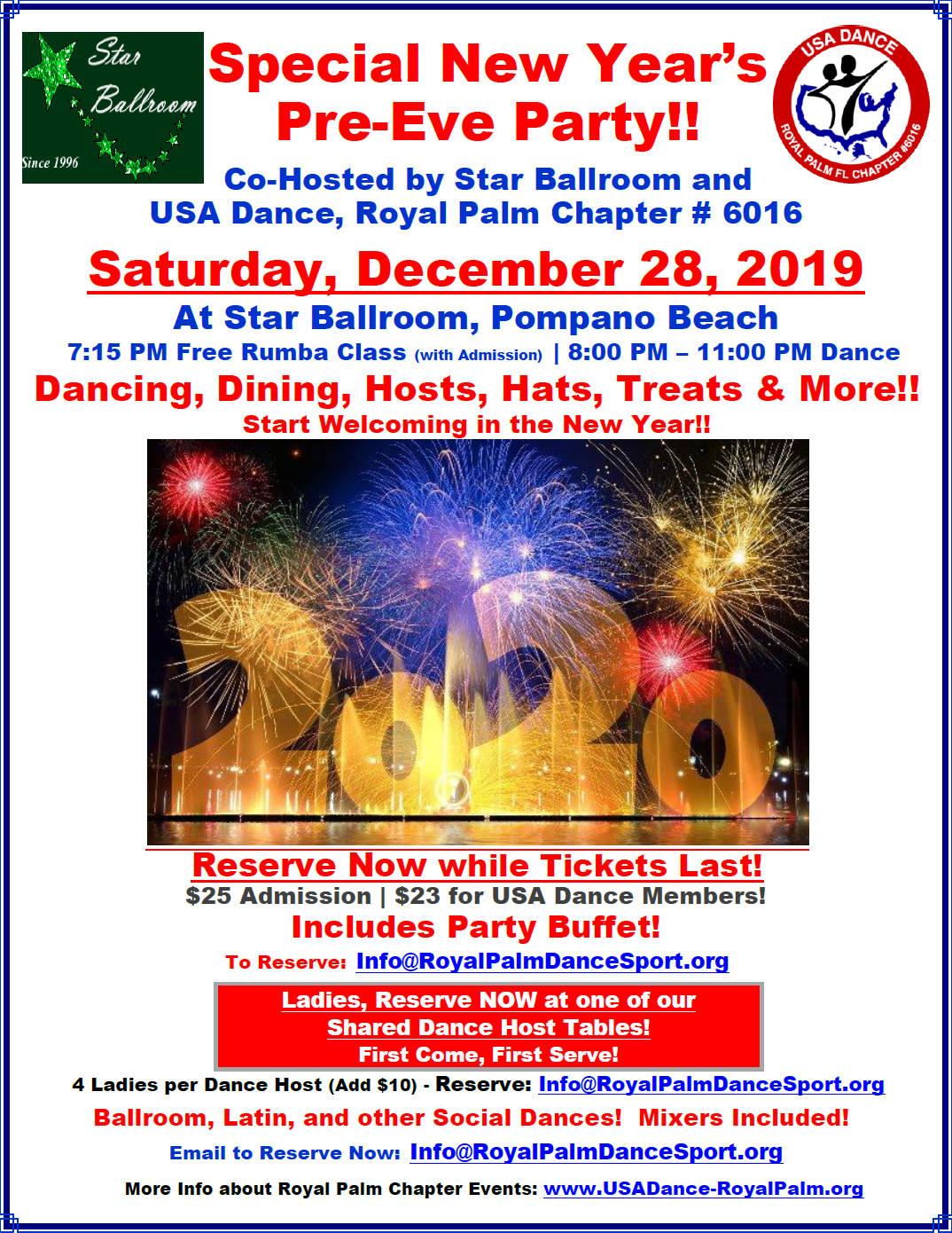 Special New Year's Pre-Eve Party - Saturday, December 28, 2019 at Star Ballroom