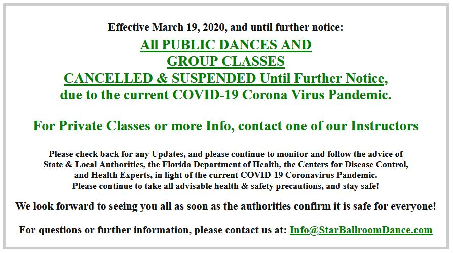 All Public Dances & Group Classes Cancelled & Suspended until further notice, due to Coronavirus
