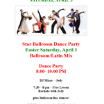 Public Dance at Star Ballroom!! – Saturday, April 3 – 8:00 pm – 10:00 pm – 7:30 pm Free Class with Jody! – $15 – Masks Required