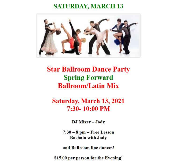 Saturday, March 13 Public Dance at Star Ballroom!