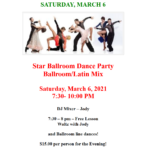 Public Dance at Star Ballroom!! – Saturday, March 6 – 7:30 pm – 10:00 pm – 7:30 pm Free Class with Jody! – $15 – Masks Required