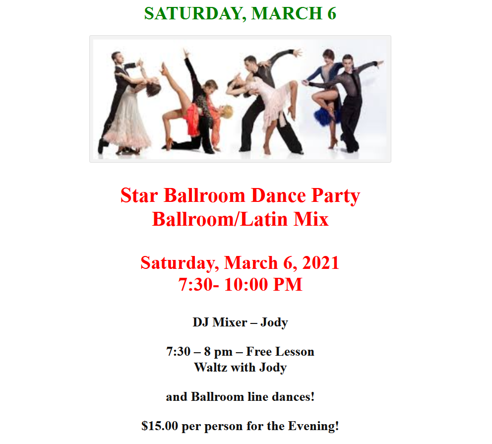 Saturday, March 6 - Public Dance at Star Ballroom!