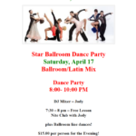 Public Dance at Star Ballroom!! – Saturday, April 17 – 8:00 pm – 10:00 pm – 7:30 pm Free Class with Jody! – $15 – Masks Required