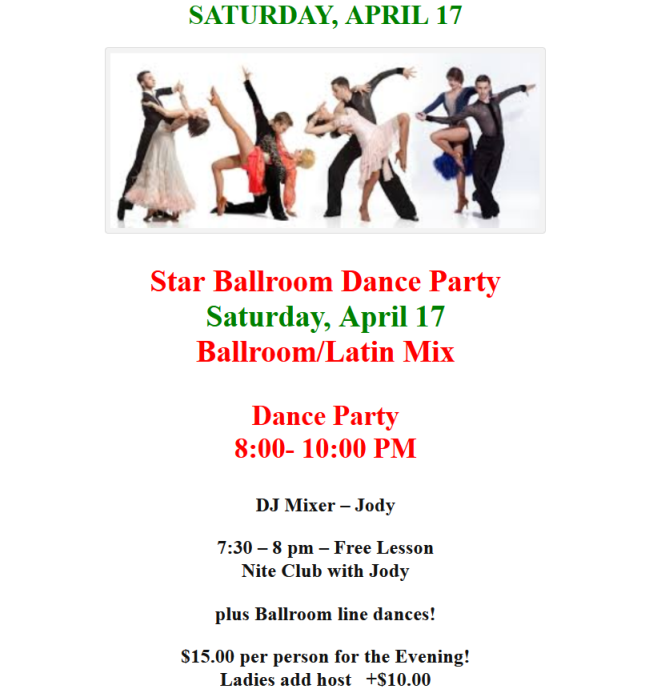 Saturday, April 17 - Public Dance at Star Ballroom!