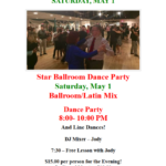 Public Dance at Star Ballroom!! – Saturday, May 1 – 8:00 pm – 10:00 pm – 7:30 pm Free Class with Jody! – $15 – Masks Required