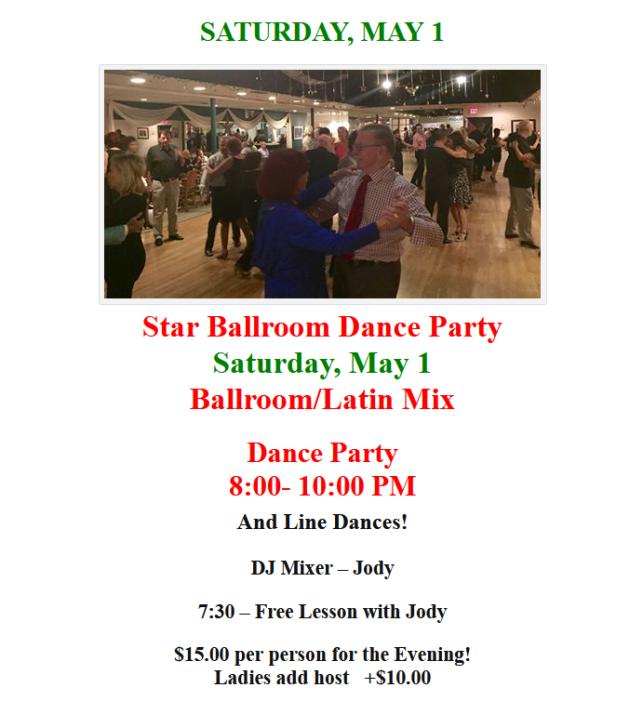 Saturday, May 1, 2021 Dance at Star Ballroom