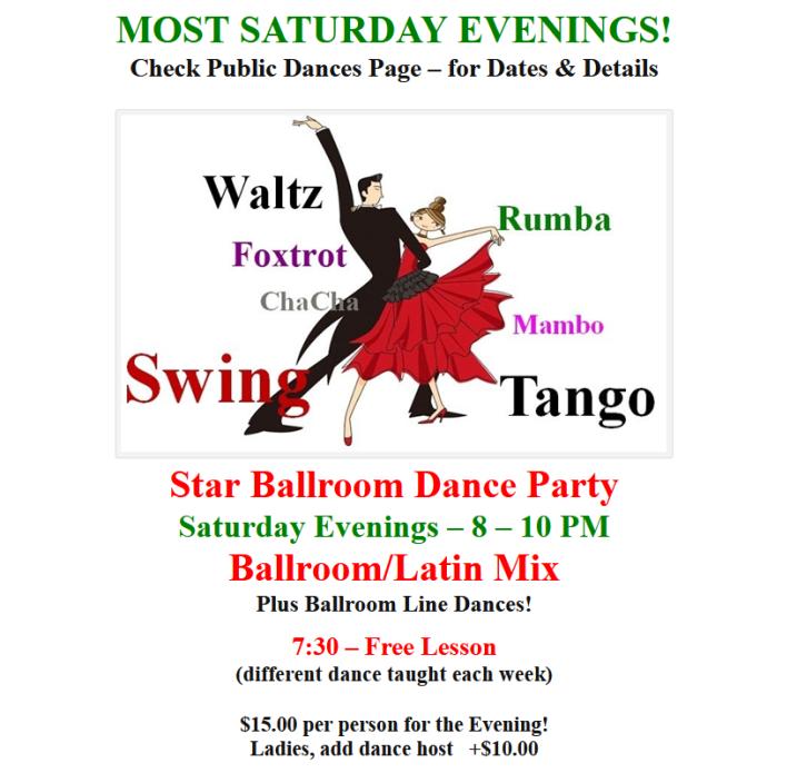 Most Saturday Evenings - Social Dance at Star Ballroom - Ballroom-Latin Mix