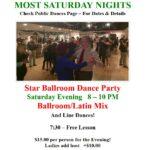 Public Dance at Star Ballroom!! – Most Saturday Nights – 8:00 pm – 10:00 pm – 7:30 pm Free Class! – $15 – Masks Optional