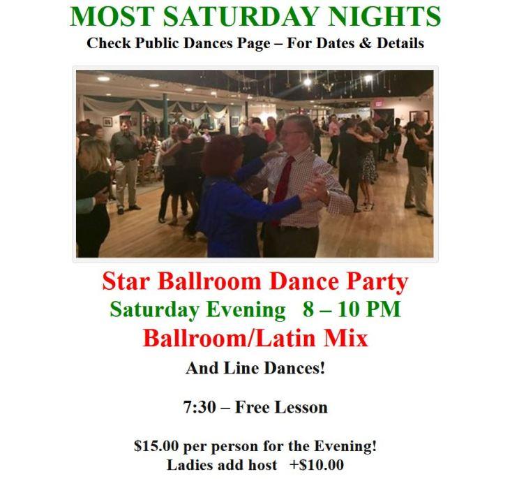 Most Saturday Nights - Star Ballroom Dance Party - 8-10 pm!