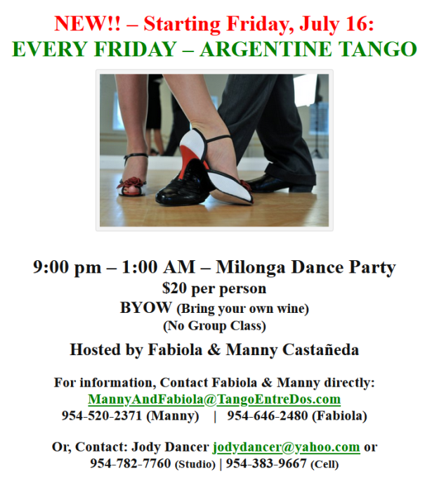 New!  Starting July 16 – ARGENTINE TANGO DANCE PARTY – EVERY FRIDAY NIGHT – 9 PM – 1 AM