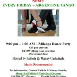 New!  – ARGENTINE TANGO DANCE PARTY – EVERY FRIDAY NIGHT – 9 PM – 1 AM – Masks Recommended