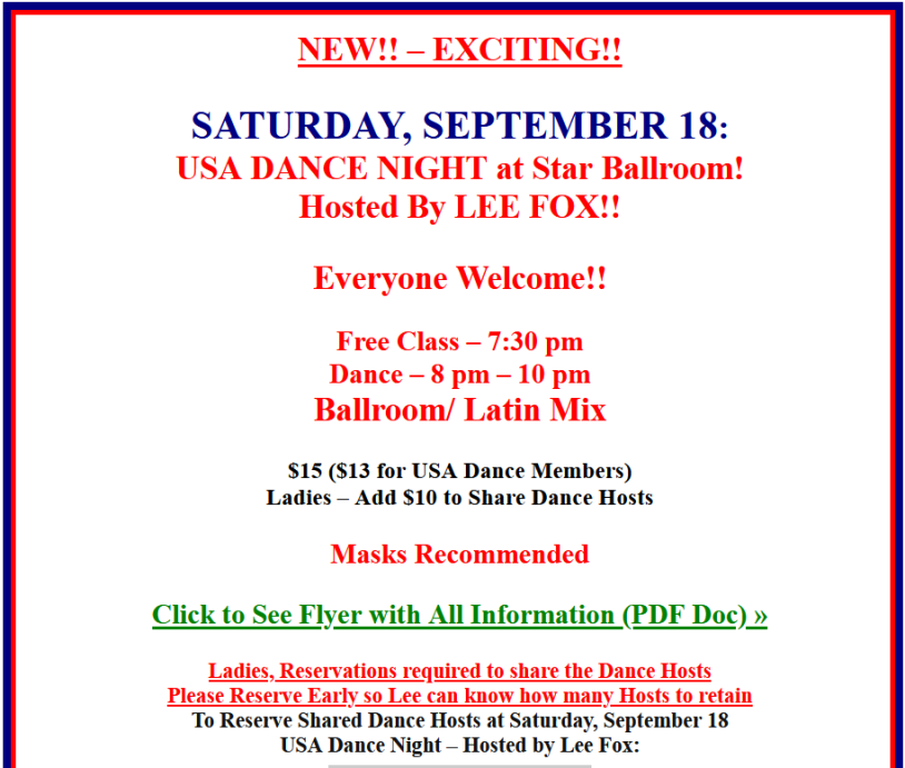 USA Dance Night - Hosted by Lee Fox - September 18, 2021