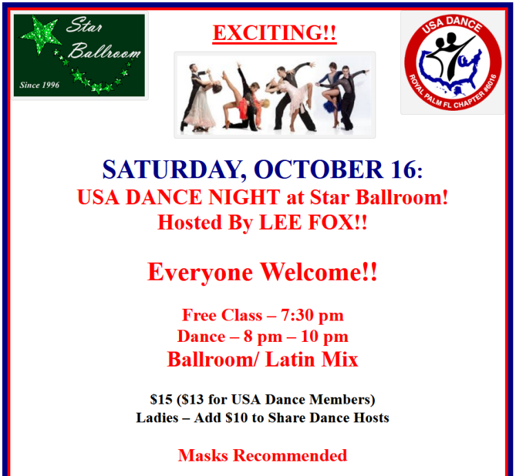 USA Dance Night at Star Ballroom - Hosted by Lee Fox - October 16, 2021!